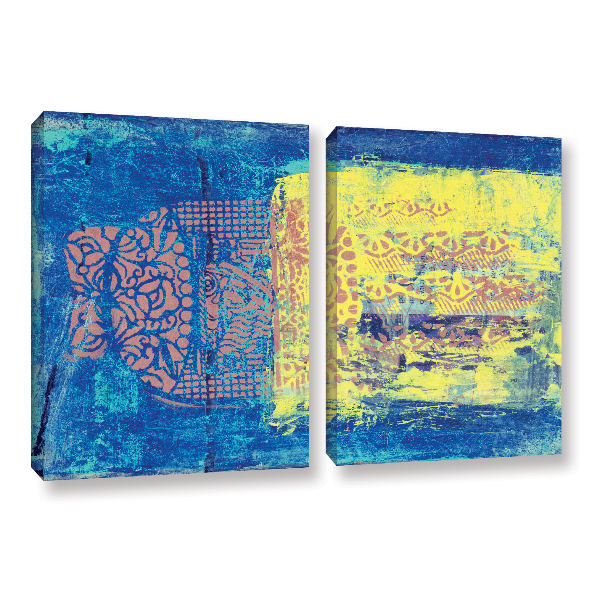 Blue With Stencils' Gallery wrapped Canvas Art Print by ArtWall