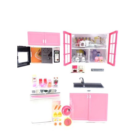 Battery Operated Real Modern Kitchen Playset Can Be Opened & Comes With Accessories