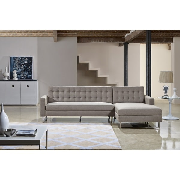 Dorris Contemporary Button Tufted Fabric Upholstered 2-Pc Right Facing Sectional Sofa, Light Brown