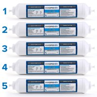 "5 Pack - Hydronix ICF-10Q Inline Reverse Osmosis Post, Fridge & Ice Coconut GAC Water Filter 2000 Gal, 1/4"" QC Ports"