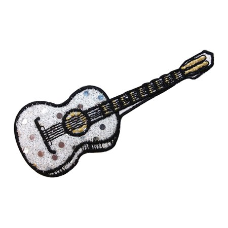 ID 9174 Shiny Guitar Patch String Musical Instrument Embroidered IronOn Applique Zoom Guitar Patches