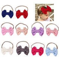 10 Pack Baby Girl Headbands and Bows Soft Nylon Elastic Infant Hair Accessories for Birthdays Gifts Photograph