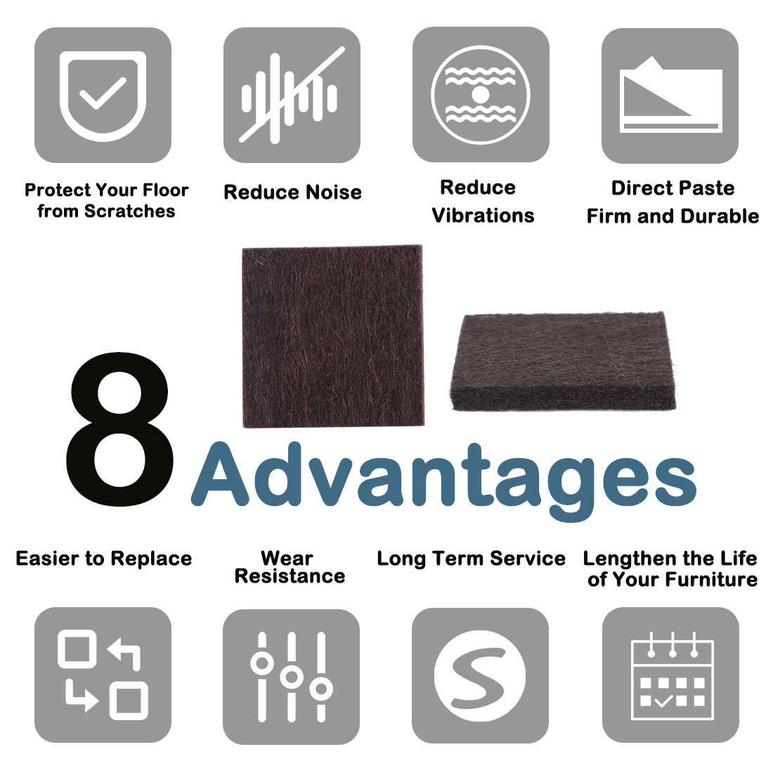 "Felt Furniture Pads Square 7/8"" Self Adhesive Anti-scratch Floor Protector 70pcs - image 1 de 7"