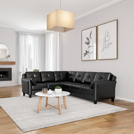Furniture of America Rena Leatherette L-Shaped Sectional, Multiple Colors ()