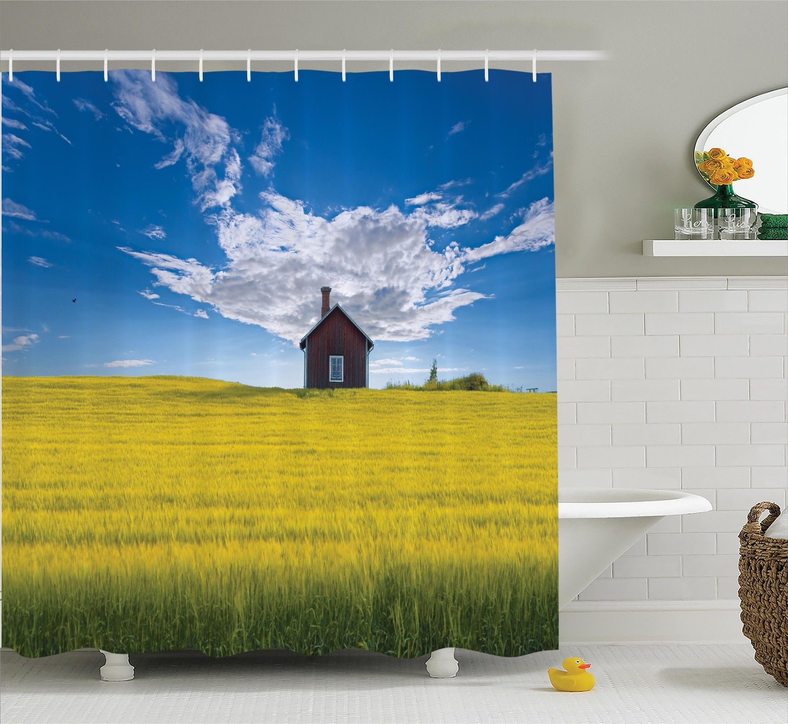 Farm House Decor Shower Curtain Set, Traditional Red Scandinavian Summerhouse In Yellow Oat Field Nordic Tranquility Theme, Bathroom Accessories, 69W X 70L Inches, By Ambesonne