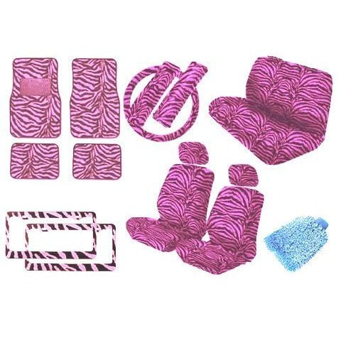 Unique Imports Car Truck PINK Zebra 18pc Front Seat Cover,Bench,Head Rest,Steering