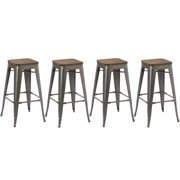 BTEXPERT 30-inch Industrial Stackable Metal Vintage Antique Style Clear Brush Distressed Counter Bar Stool Modern wood... by BTExpert
