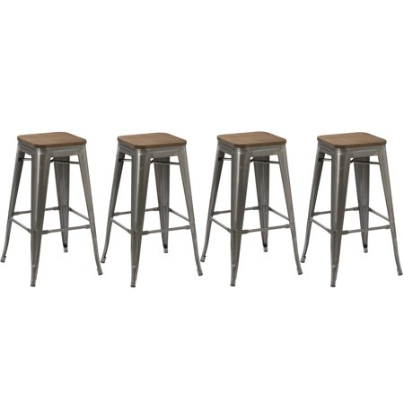 Surprising Btexpert 30 Inch Industrial Stackable Metal Vintage Antique Style Clear Brush Distressed Counter Bar Stool Modern Wood Top Seat Set Of 4 Barstool Beatyapartments Chair Design Images Beatyapartmentscom