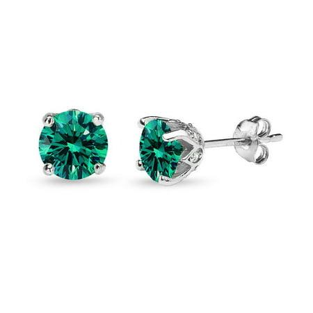 925 Silver Green Blue Crown Stud Earrings Made w/ Swarovski Crystals