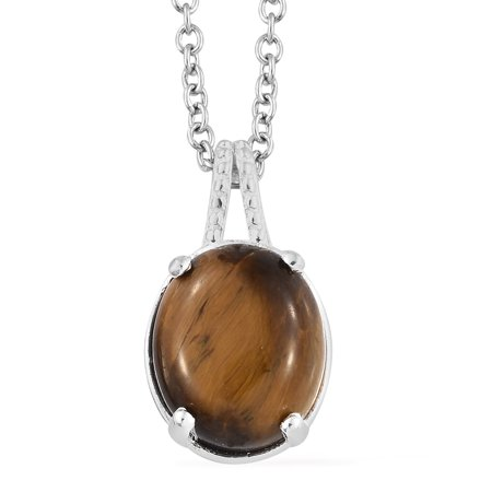 Mix Metal Oval Tigers Eye Fashion Chain Pendant Necklace