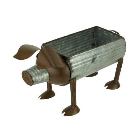 Galvanized and Rust Brown Metal Art Indoor Outdoor Pig Planter Sculpture