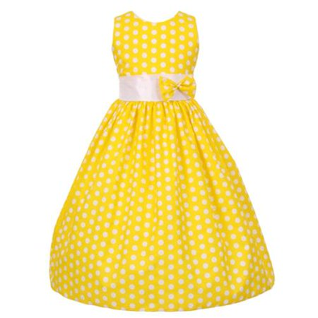 Little Girls Yellow White Polka Dot Allover Bow Accented Dress 4