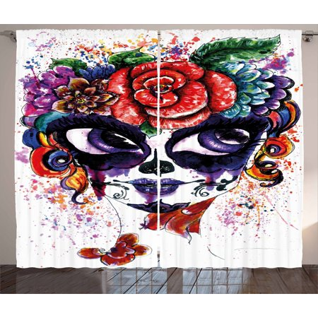Sugar Skull Curtains 2 Panels Set, Watercolor Painting Style Girl Face with Make Up and Floral Crown Big Eyes, Window Drapes for Living Room Bedroom, 108W X 96L Inches, Multicolor, by Ambesonne - Skull Face Painting Ideas