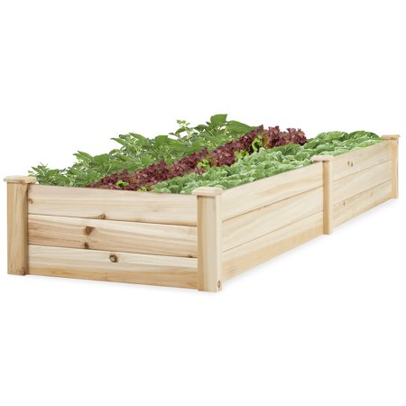 Best Choice Products Wooden Raised Garden Bed- Natural ()