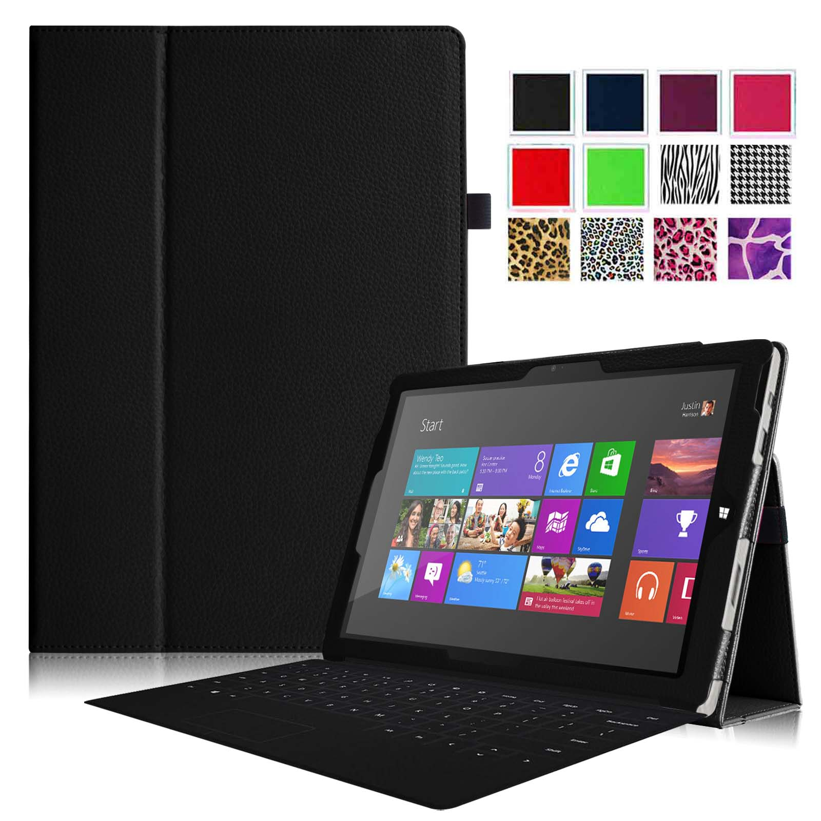 Fintie Case for Microsoft Surface Pro 3 - Slim Fit PU Leather Folio Stand Cover with Stylus Holder, Black