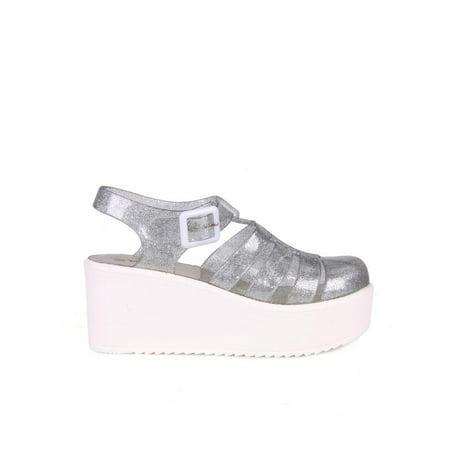 Nature Breeze caged Jelly Platform Women's Sandals in (Glitter Platform Slide)