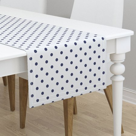 Table Runner Polka Dots Blue And White Preppy Navy Cottage Cotton Sateen