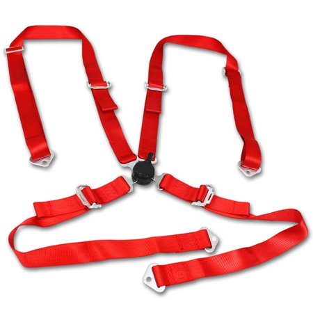 Universal Red Nylon Racing Seat Belt Harness 4-Point Quick Release Camlock Set 4 Point Seat Belt Harness