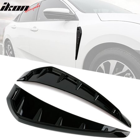 Fits 16-18 Honda Civic Style Front Fender Side Vent Duct Gloss Black (Roadster Style Front Fenders)