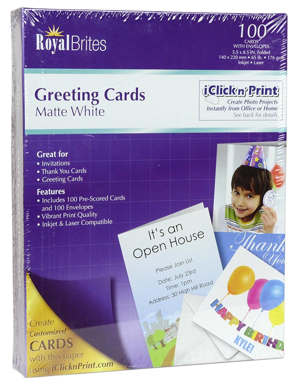 Royal Brites Blank Matte Greeting Cards With Envelopes 55 X 85