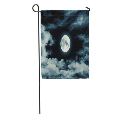 KDAGR Blue Night Nightly Sky Large Moon Full Halloween Clouds Black Lunar Garden Flag Decorative Flag House Banner 12x18 inch](Sky Garden Halloween)