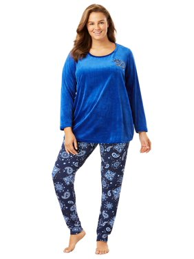 8775020b8 Product Image Dreams   Co. Plus Size Embroidered Velour Pajama Set