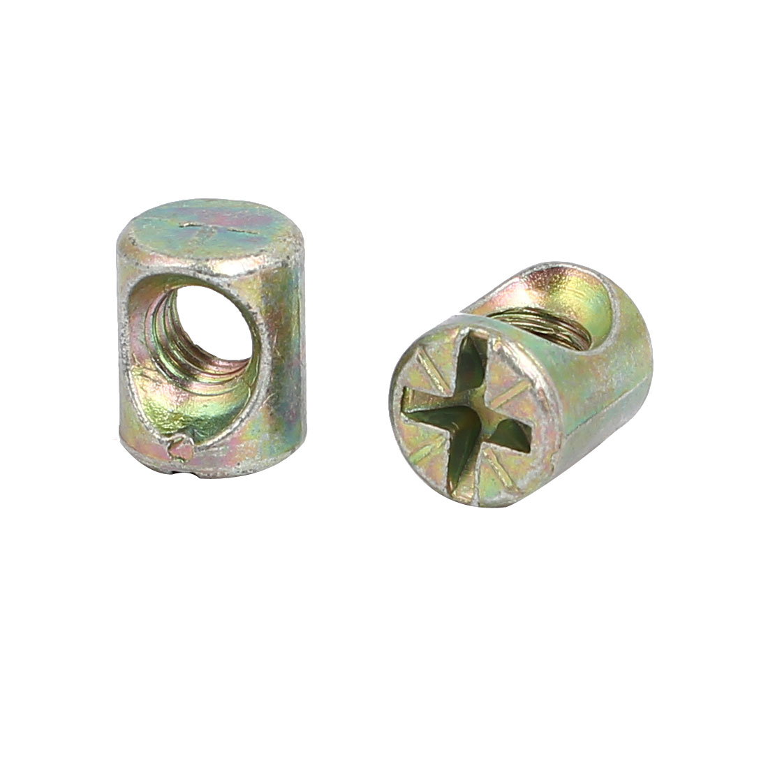M6 x 12mm Cross Dowel Slotted Barrel Nuts 30PCS for Furniture Bed Chair - image 1 of 2