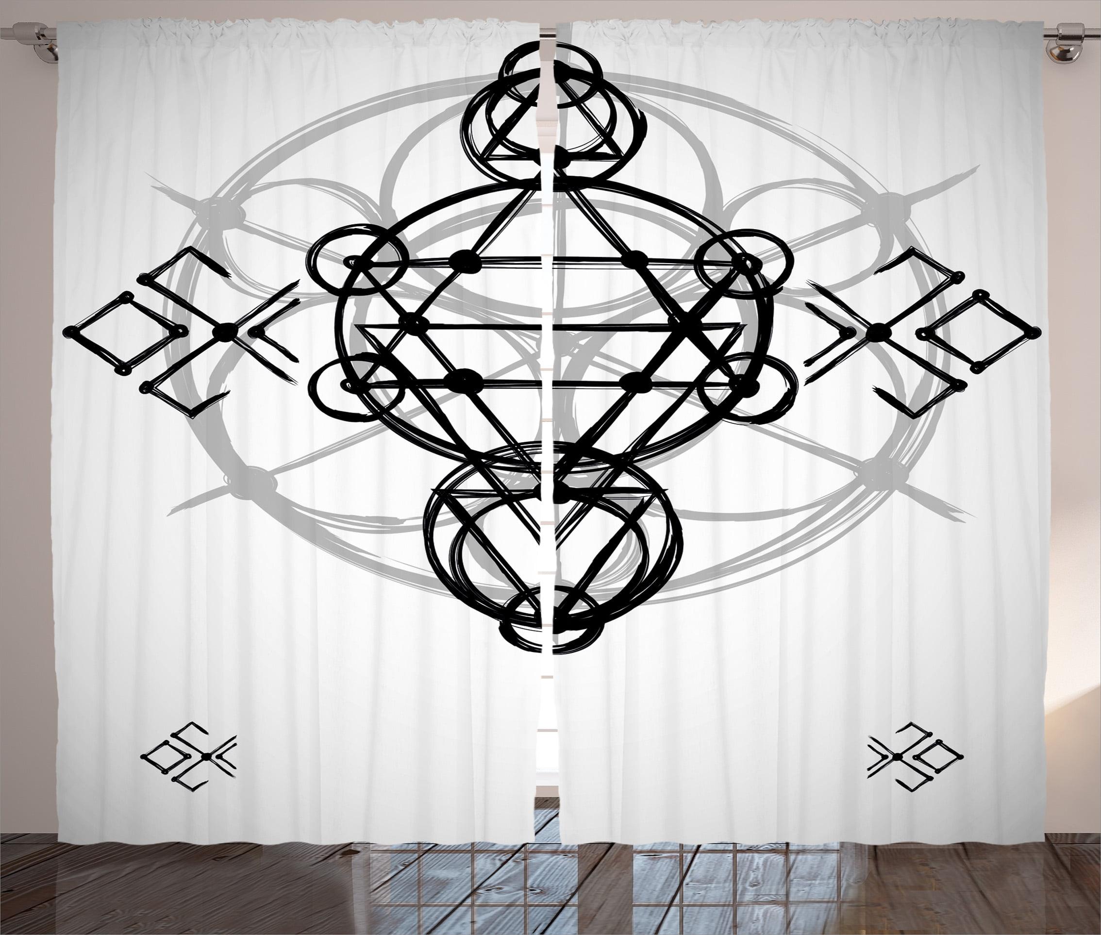 Sacred Geometrty Decor Curtains 2 Panels Set Simplistic Seed Of