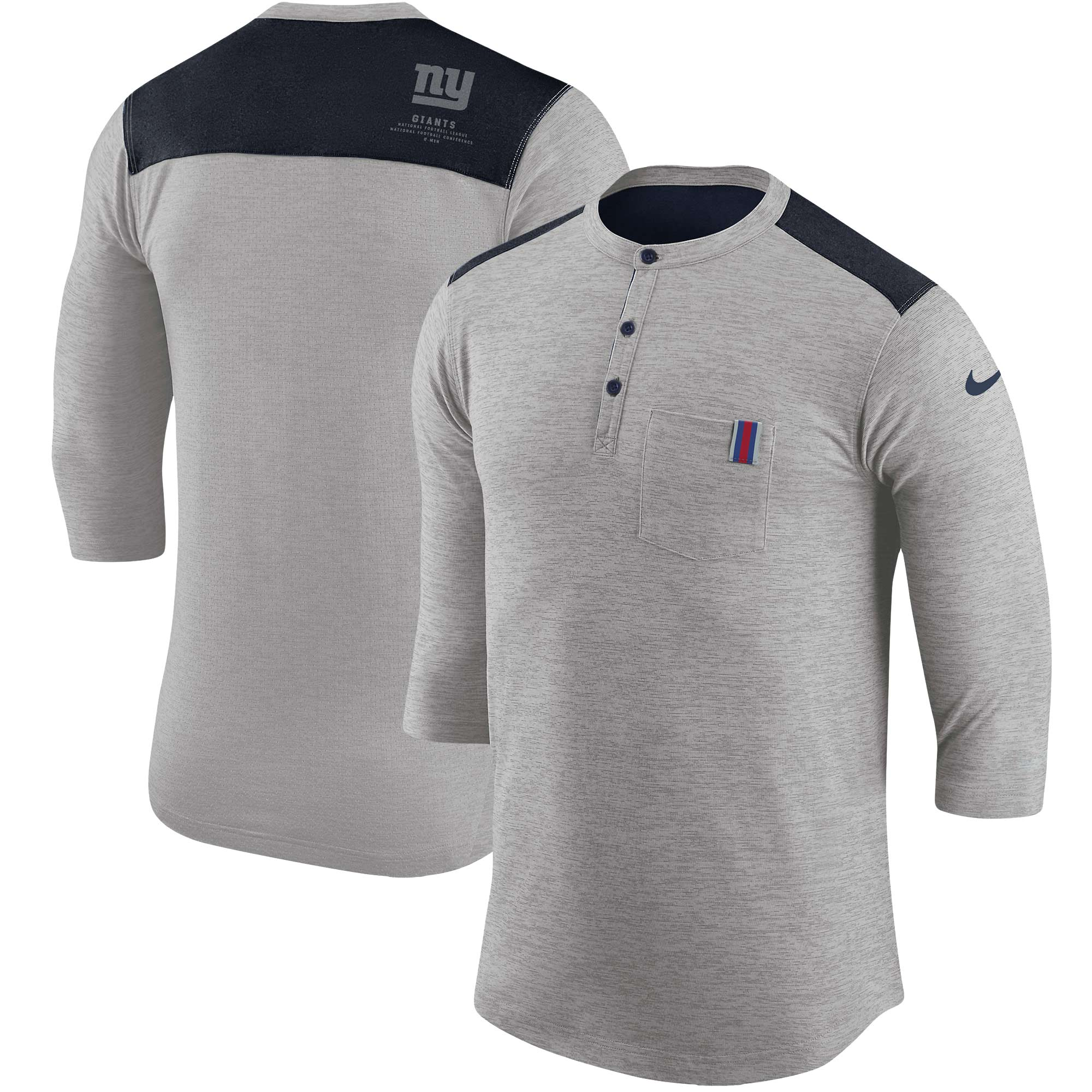 New York Giants Nike 3/4 Henley Performance T-Shirt - Heathered Gray