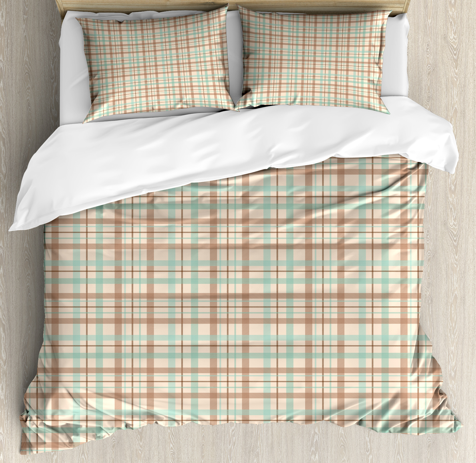 Plaid King Size Duvet Cover Set Scottish Country Style