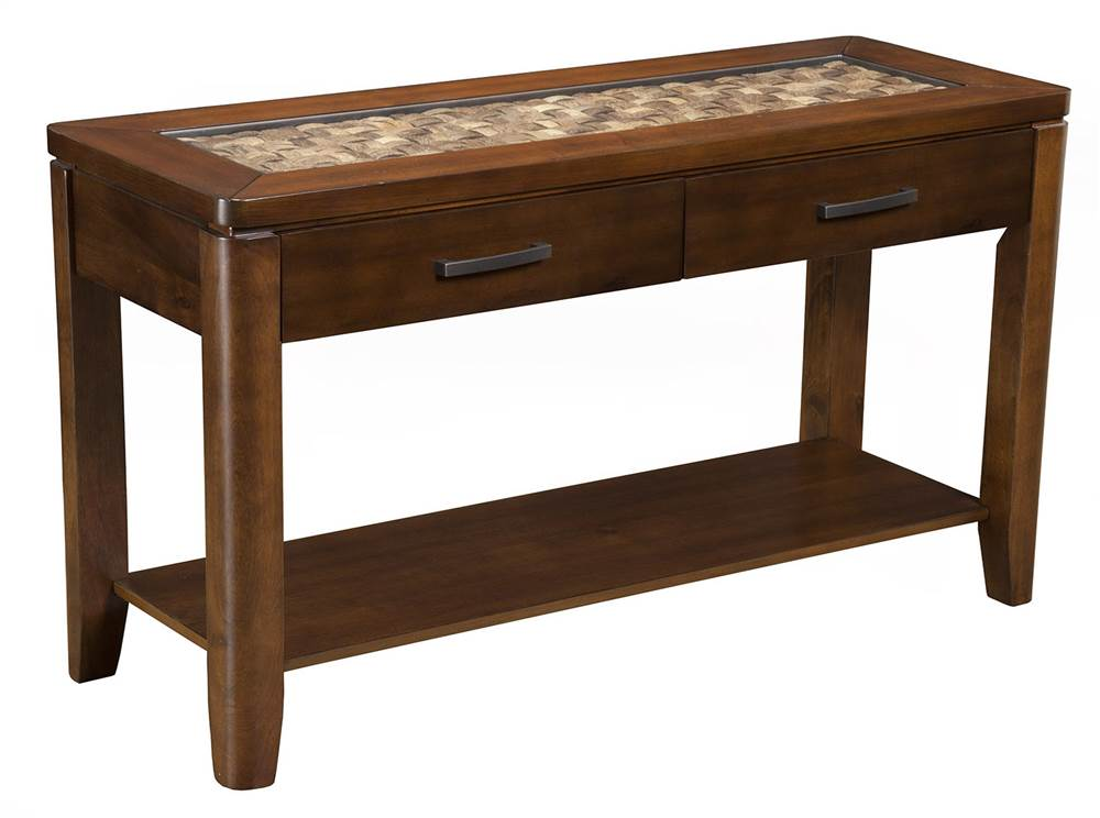 sofa table in brown merlot finish