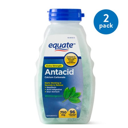 (2 Pack) Equate Extra Strength Antacid Chewable Wintergreen Tablets, 750 mg, 96 Ct ()