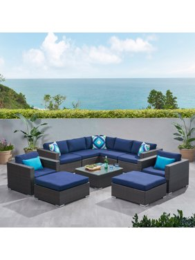 Faviola Outdoor 7 Seater Wicker Sectional Sofa Set with Sunbrella Cushions, Multibrown and Sunbrella Canvas Navy