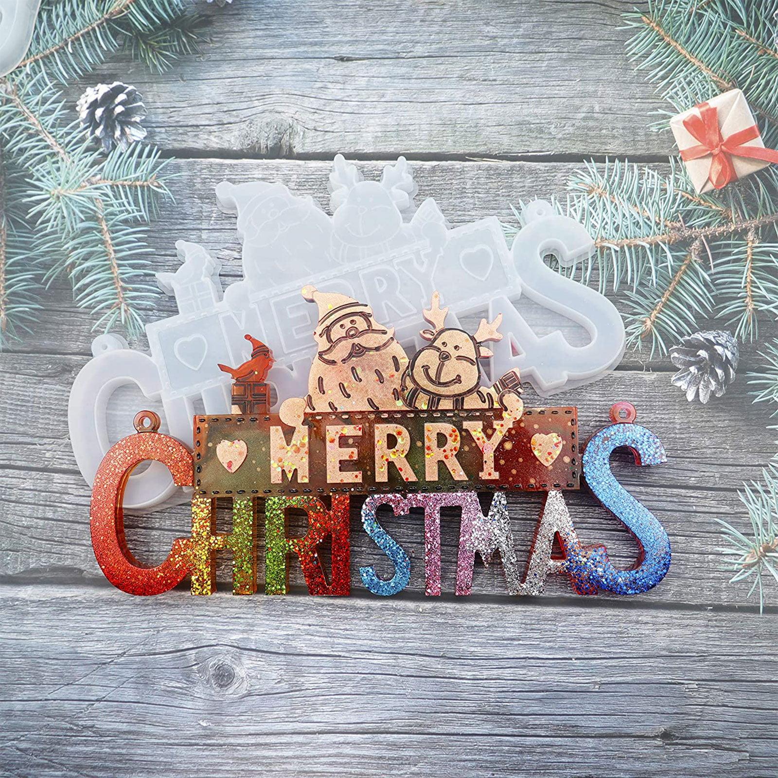 Resin Molds Silicone Resin Mold,DIY Christmas Resin Molds,Silicone Mold for Making Christmas Ornaments