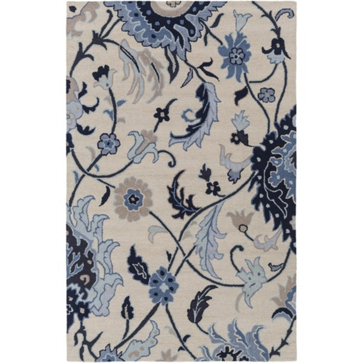 2 X 3 Floral Paradise Navy Sky Blue And Beige Brown