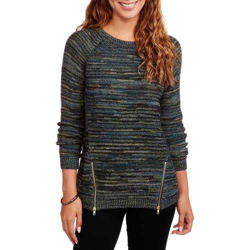 Heart and Crush Women's Side Zip Marled Sweater