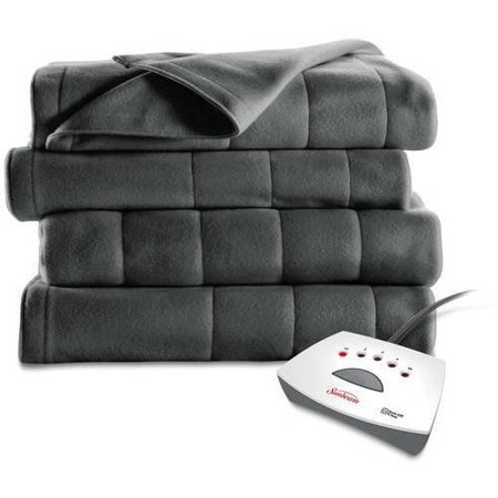 Sunbeam Heated Electric Channeled Fleece Blanket, Twin, Slate