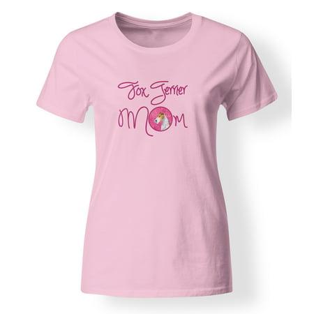 Wire Fox Terrier T-shirt - Pink Wire Fox Terrier Mom T-shirt Ladies Medium