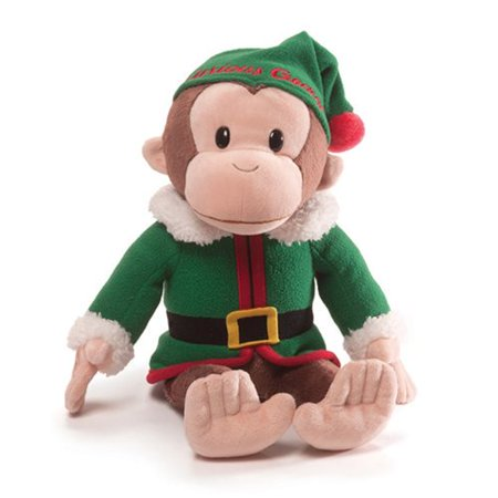 - gund curious george elf holiday stuffed toy