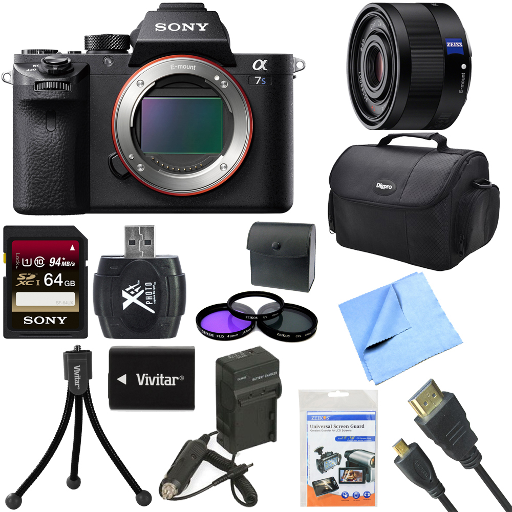 Sony a7S II Full-frame Mirrorless Interchangeable Lens Camera Body 35mm Lens Bundle includes a7S II Body, 35mm Full Frame Lens, 64GB Memory Card, Bag, 49mm Filter Kit, Beach Camera Cloth and More