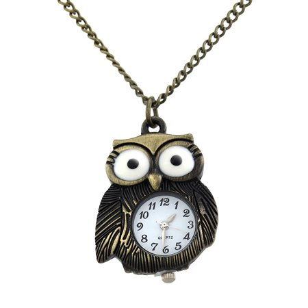 Burnished Gold Owl Watch Necklace 32 In