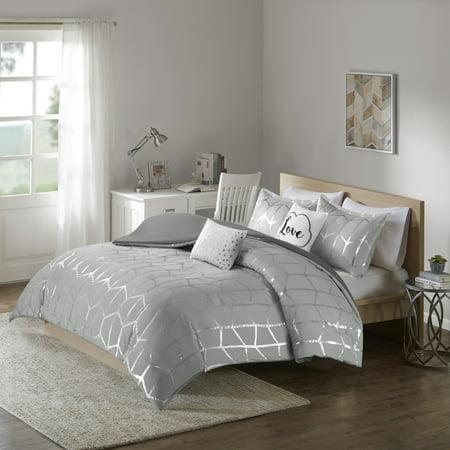 5pc Full/Queen Arielle Printed Duvet Cover Set Gray/Silver