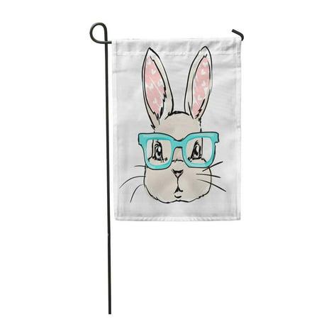 KDAGR Drawing Cute Rabbit Sketch Children Bunny Glasses Face Garden Flag Decorative Flag House Banner 12x18