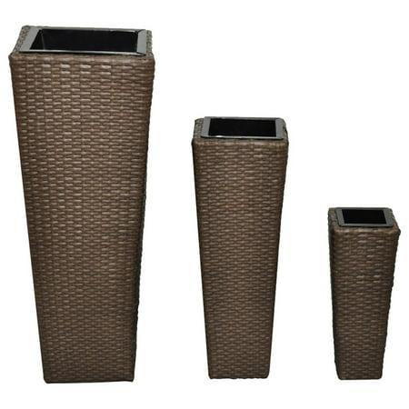 3X Rattan Garden Tube Planter Vase Flower Pots Patio Furniture Garden - Brown Rattan Furniture Center