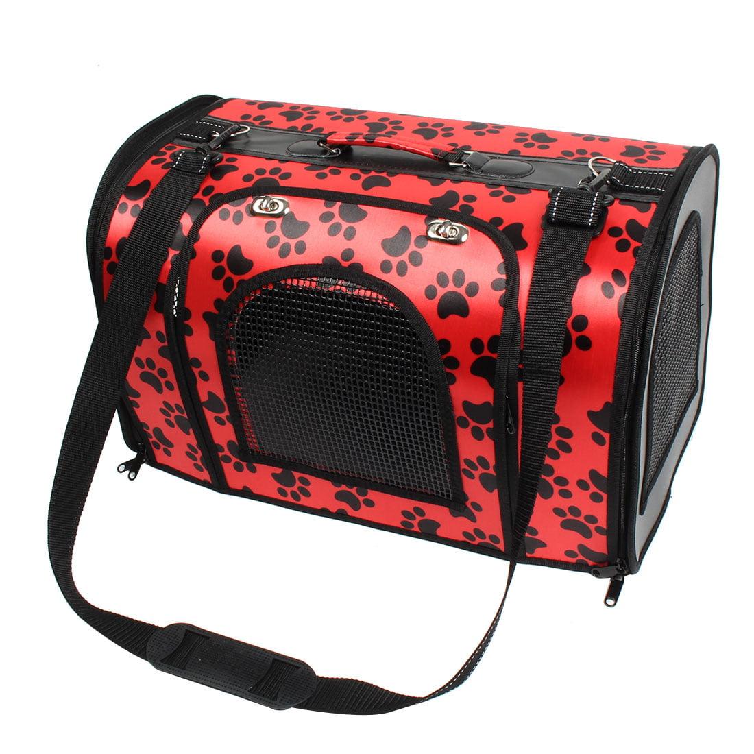 Pet Cat PVC Claws Footprint Zipper Closure Carrier Handbag 48.5 x 28.5 x 32cm