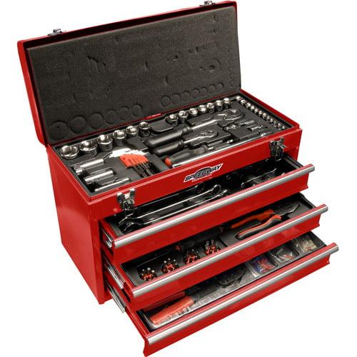 Speedway 118-Piece 3-Drawer Tool Chest, Red