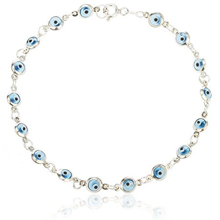 Real 925 Sterling Silver with Aqua Blue Evil Eye Charmed 7 Inch Bracelet