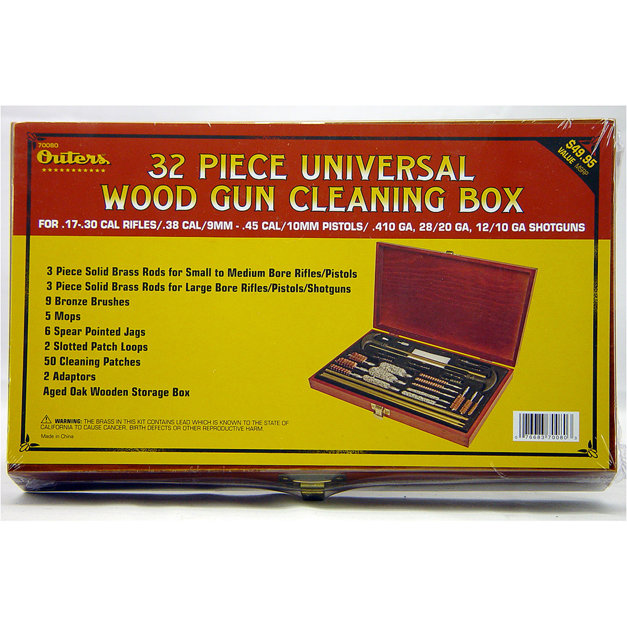 Outers Cleaning Kit for Universal Gun Cleaning, 32-Piece, Wood Box