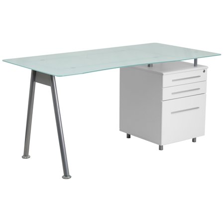 Flash Furniture Computer Desk with Glass Top and 3-Drawer (Top Desk)