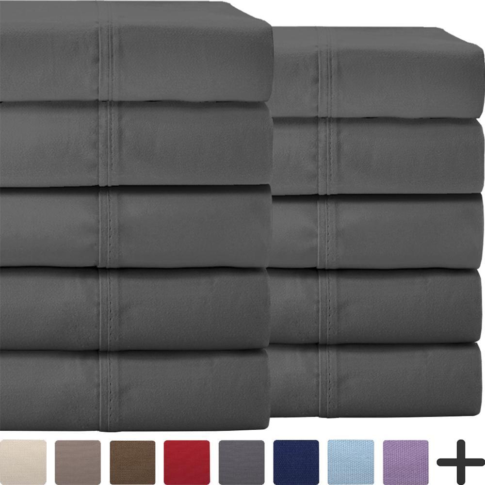 Bulk Sheet Set 10 Pack Queen – Premium Ultra-Soft 1800 Double Brushed Microfiber - Hypoallergenic – Wholesale (Queen, Grey)
